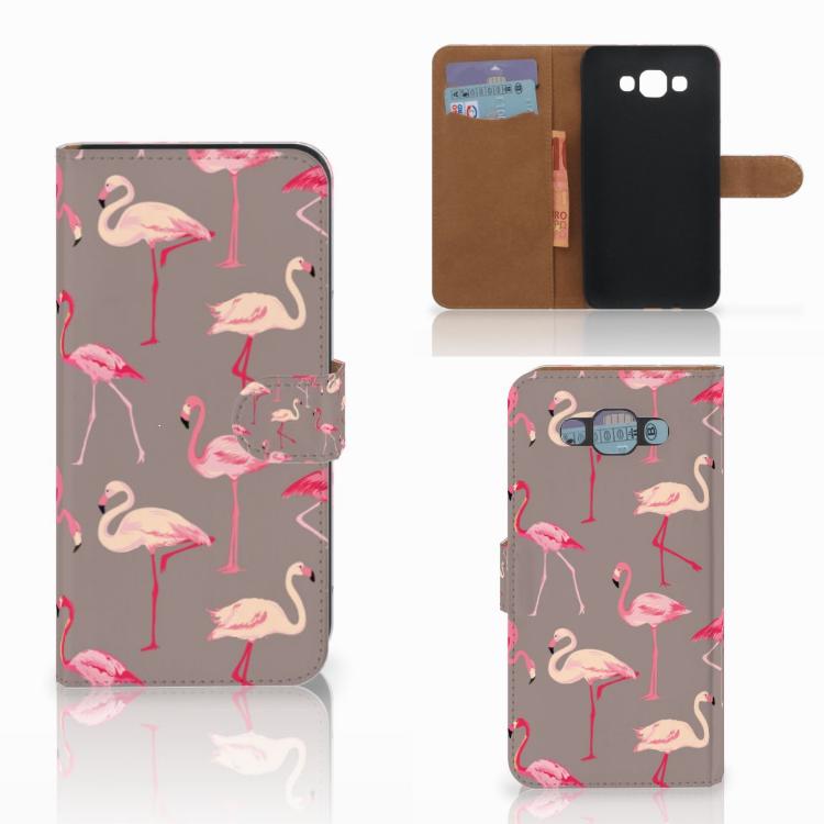 Samsung Galaxy E7 Telefoonhoesje met Pasjes Flamingo