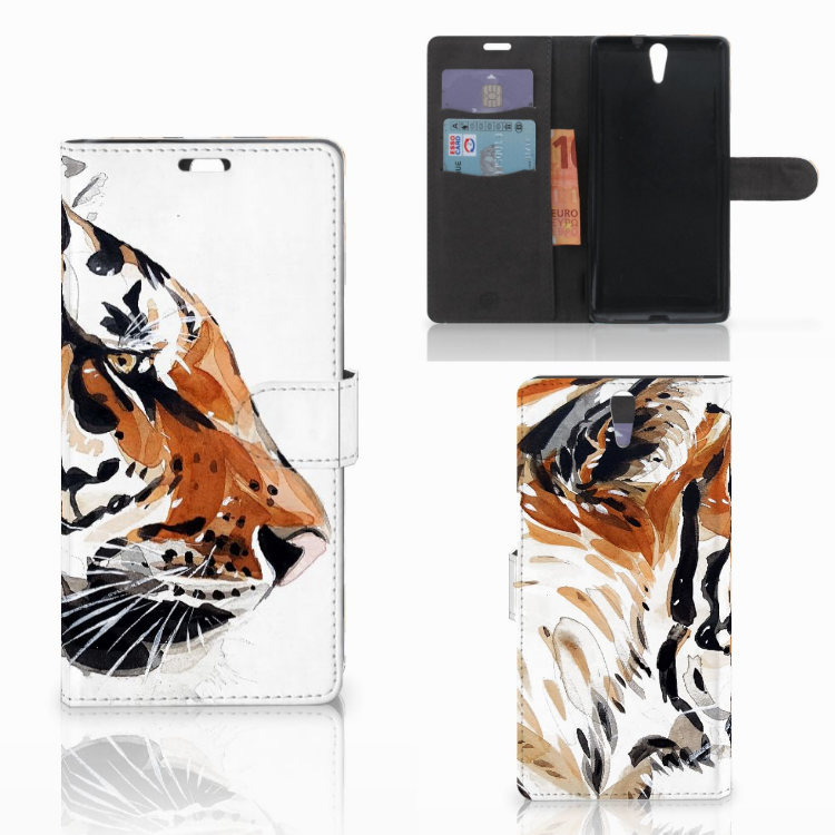 Hoesje Sony Xperia C5 Ultra Watercolor Tiger
