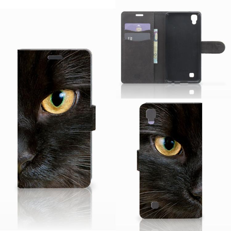 LG X Power Telefoonhoesje met Pasjes Zwarte Kat
