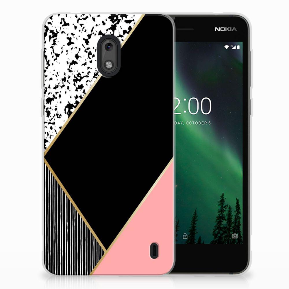 Nokia 2 TPU Hoesje Zwart Roze Vormen