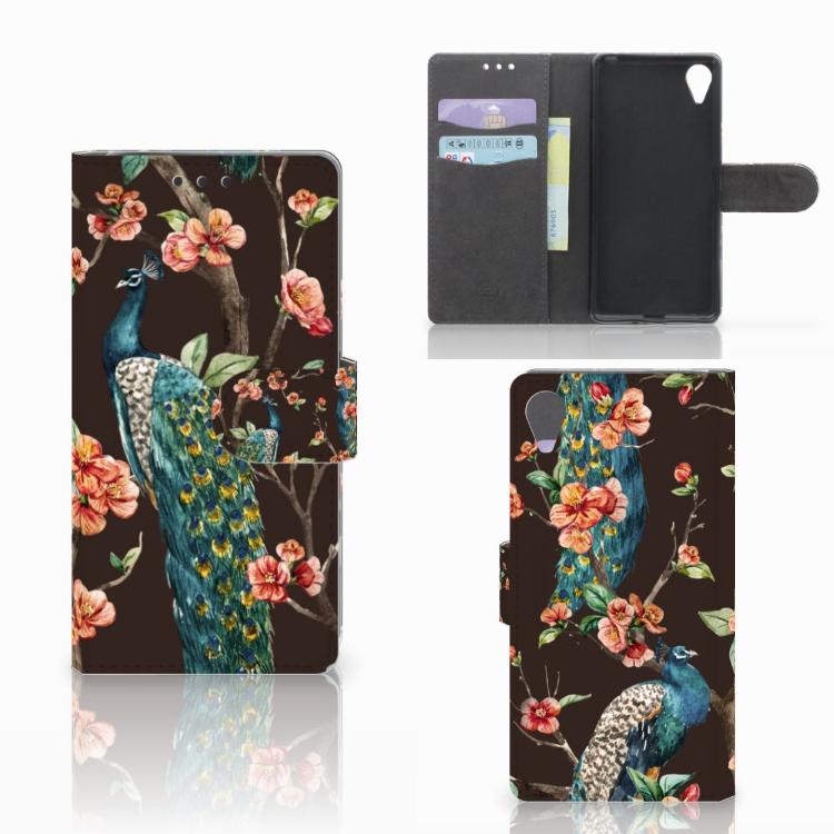 Sony Xperia X Performance Telefoonhoesje met Pasjes Pauw met Bloemen