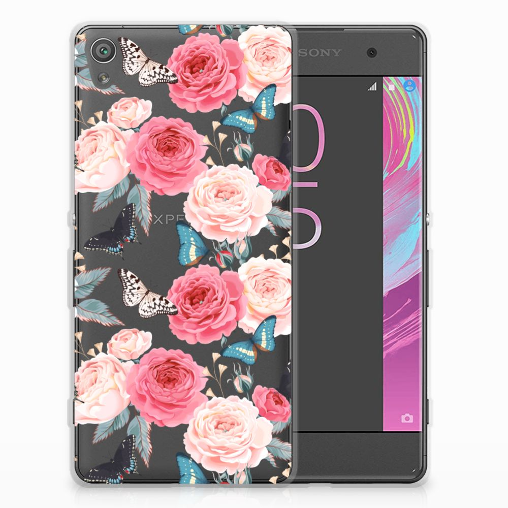 Sony Xperia XA | XA Dual Uniek TPU Hoesje Butterfly Roses