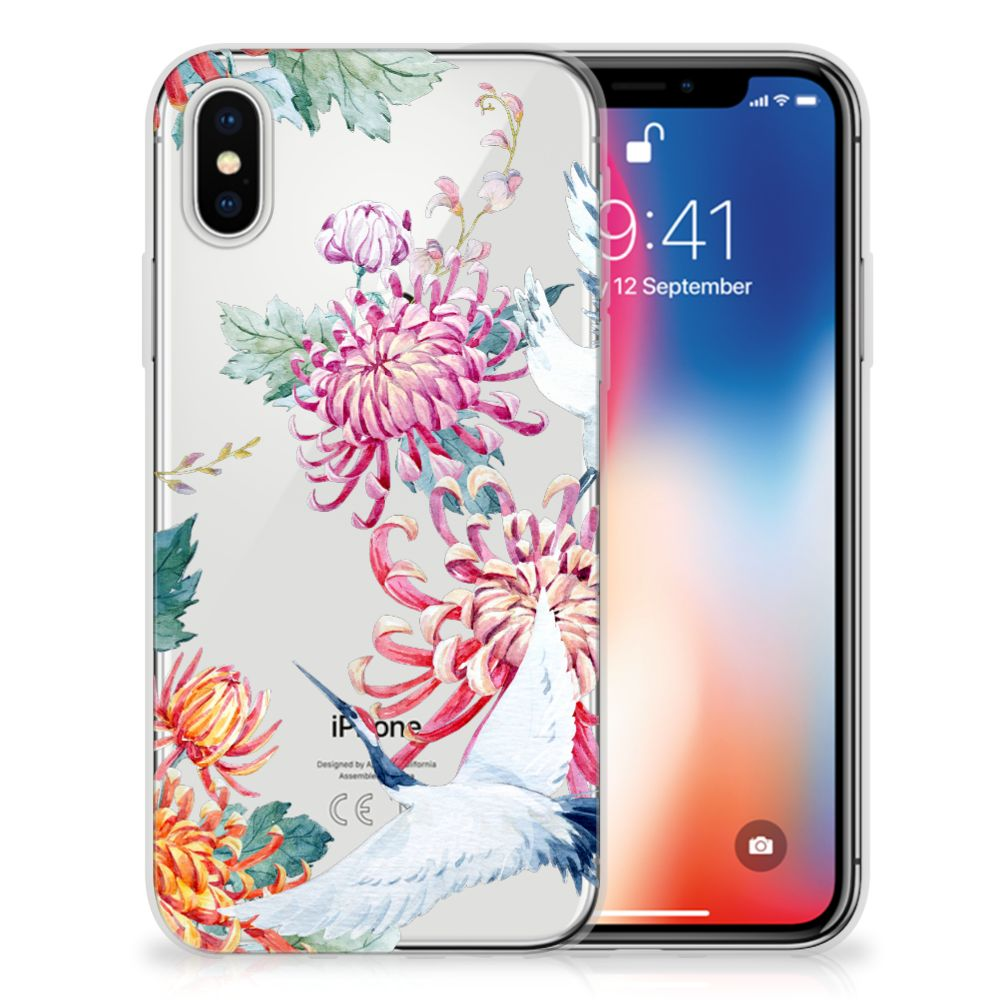 Apple iPhone X | Xs Uniek TPU Hoesje Bird Flowers