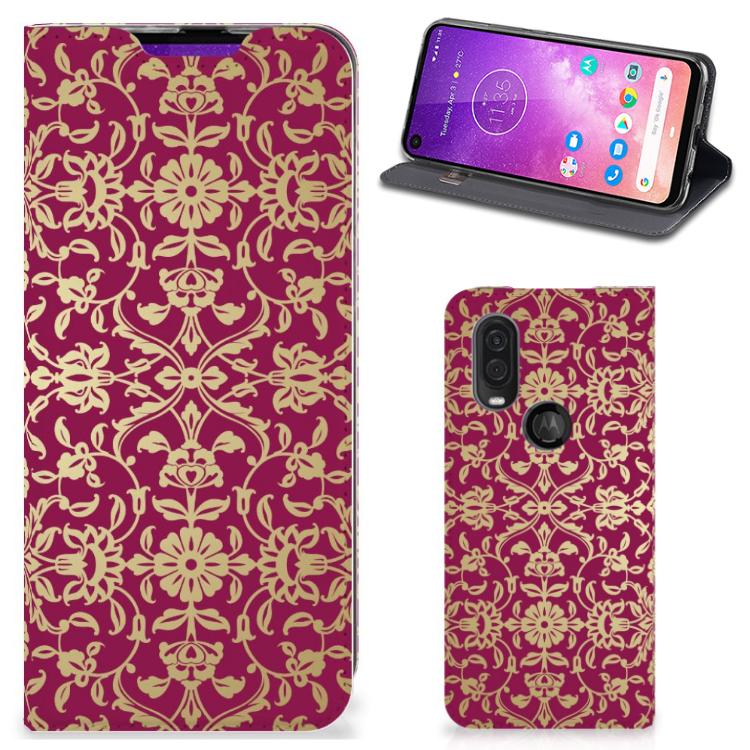 Telefoon Hoesje Motorola One Vision Barok Pink