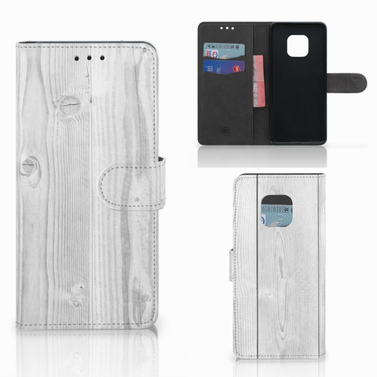 Huawei Mate 20 Pro Book Style Case White Wood