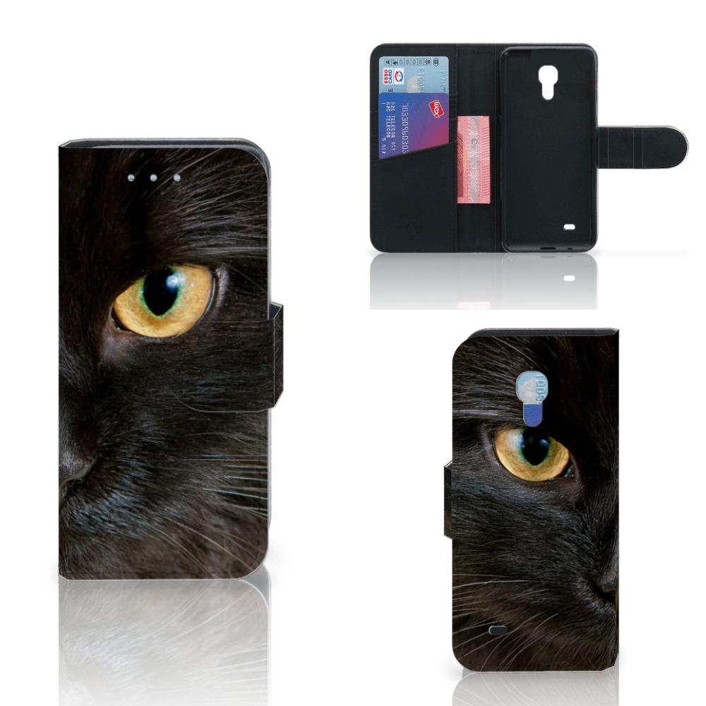 Samsung Galaxy S4 Mini i9190 Telefoonhoesje met Pasjes Zwarte Kat