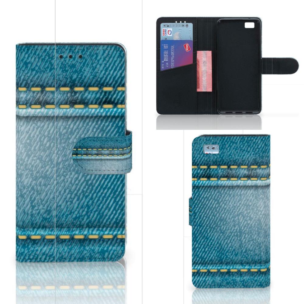 Huawei Ascend P8 Lite Wallet Case met Pasjes Jeans