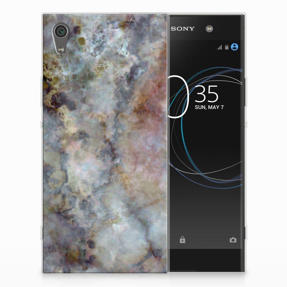 Sony Xperia XA1 Ultra TPU Siliconen Hoesje Marmer Grijs