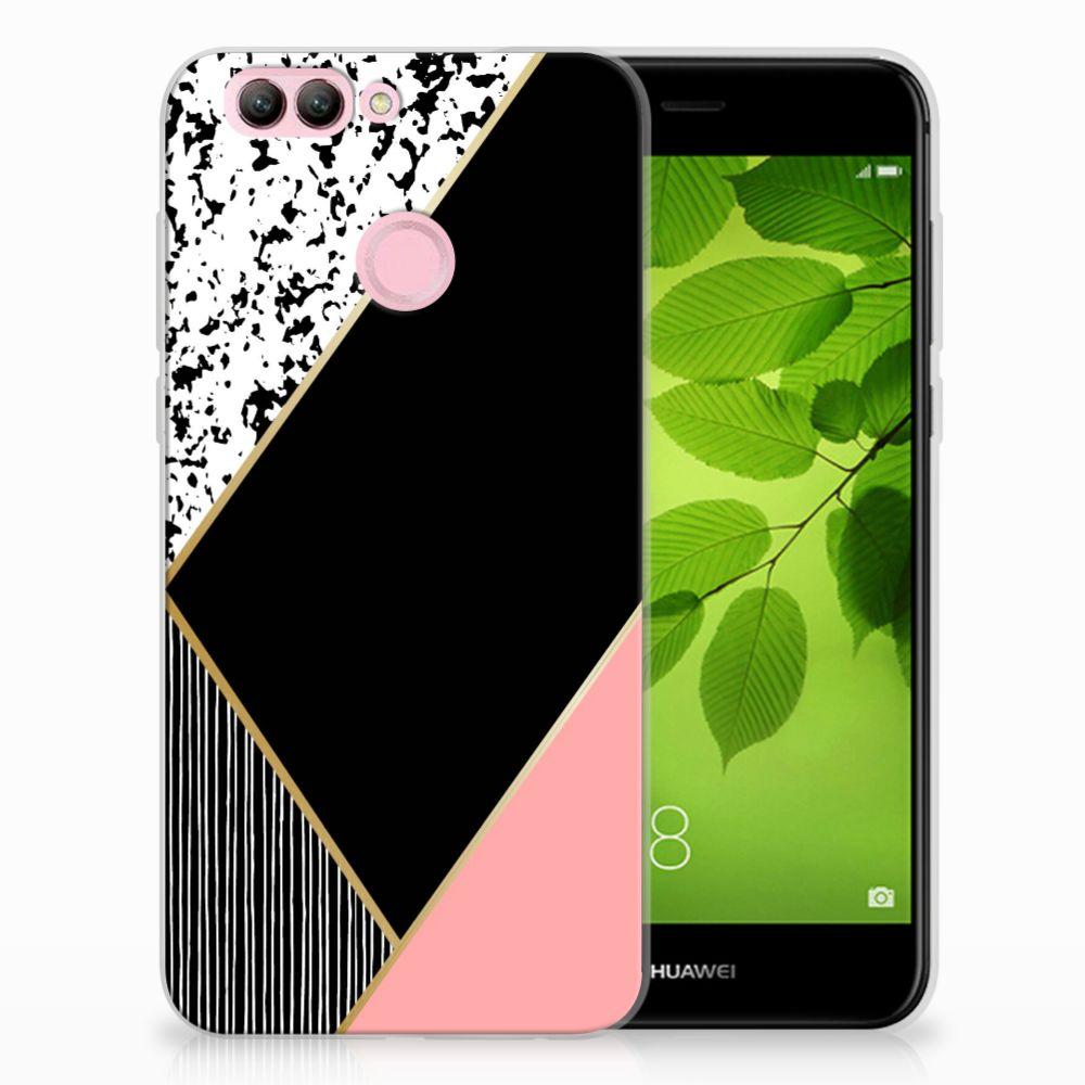 Huawei Nova 2 Uniek TPU Hoesje Black Pink Shapes