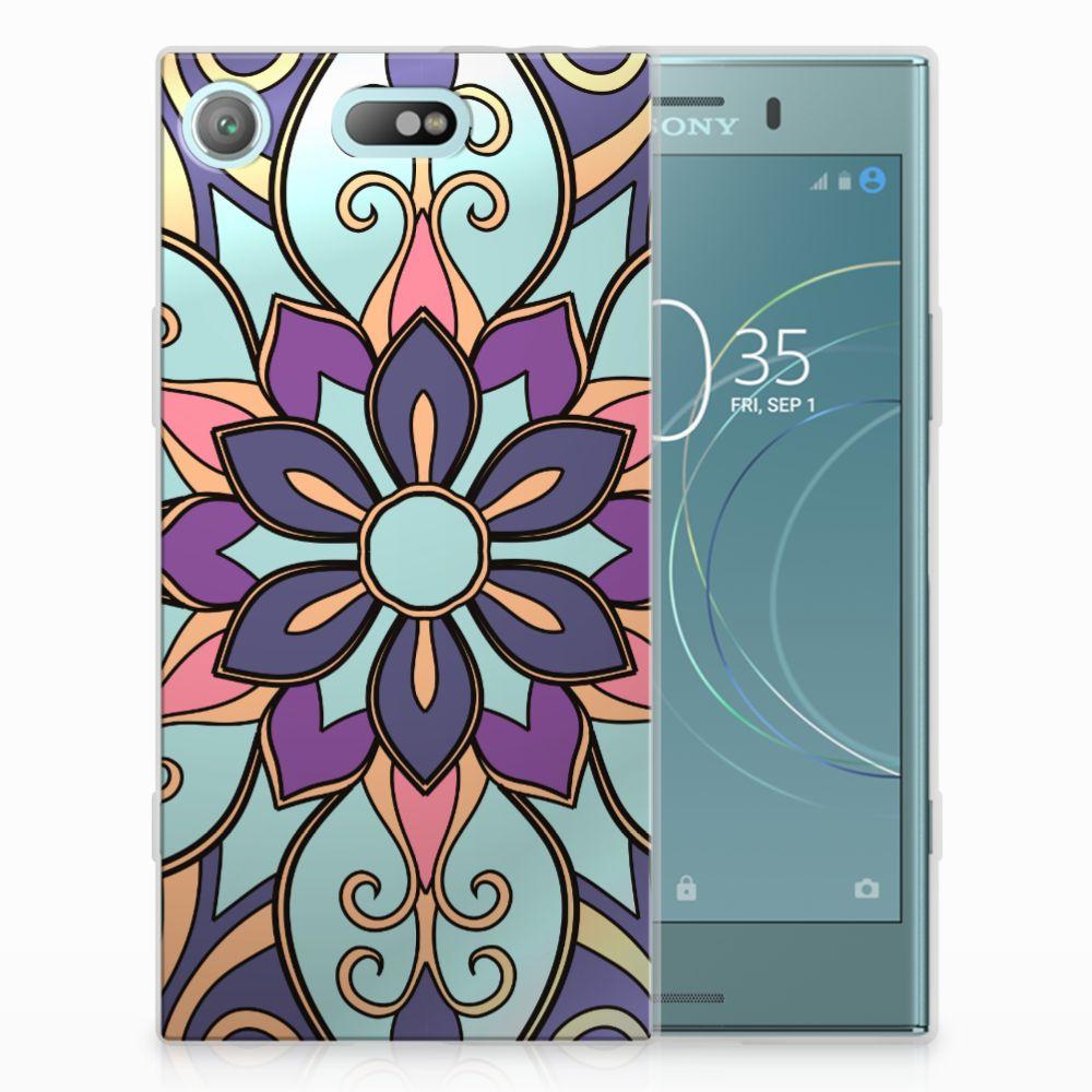 Sony Xperia XZ1 Compact TPU Hoesje Design Purple Flower