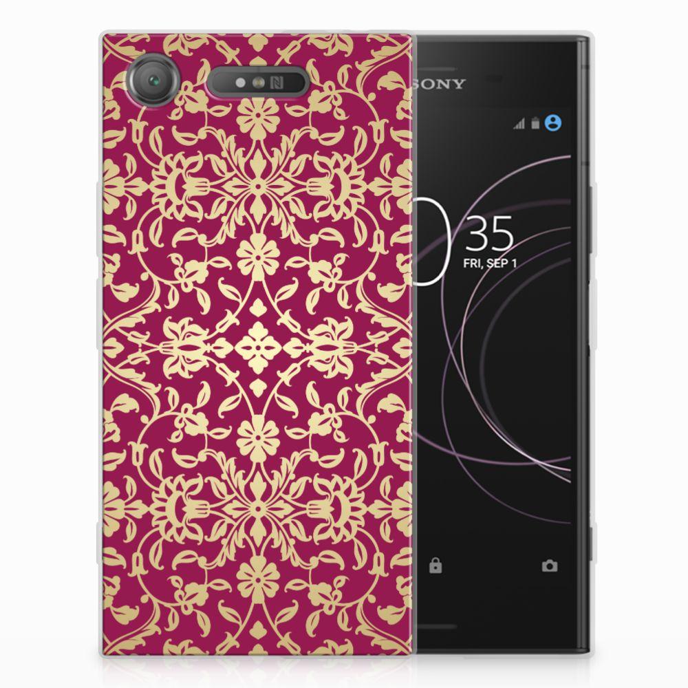 Sony Xperia XZ1 TPU Hoesje Design Barok Pink