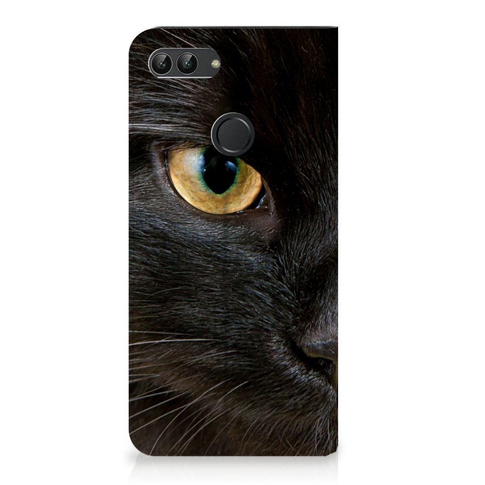 Huawei P Smart Uniek Standcase Hoesje Zwarte Kat