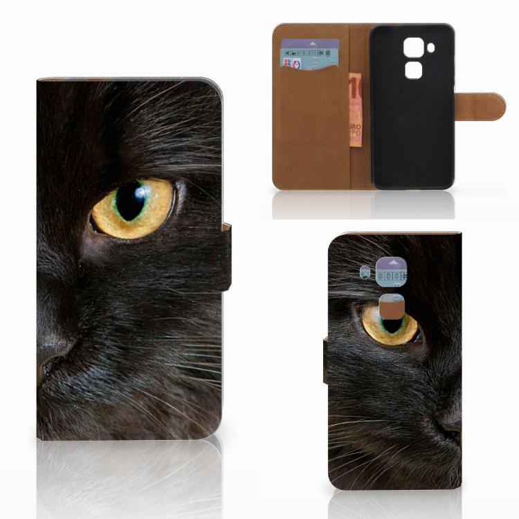 Huawei Nova Plus Telefoonhoesje met Pasjes Zwarte Kat
