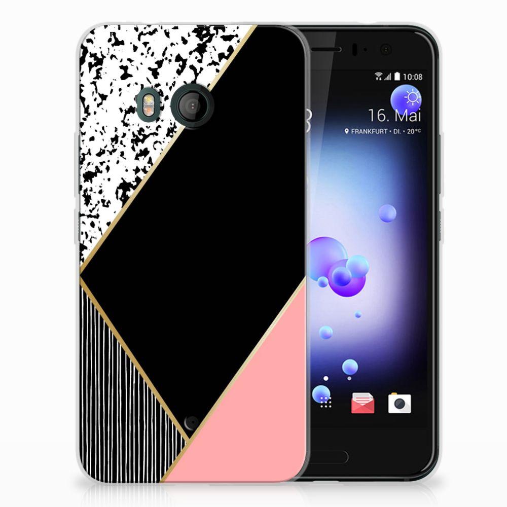 HTC U11 TPU Hoesje Zwart Roze Vormen