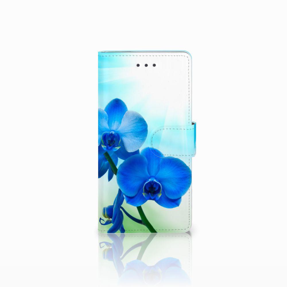 Huawei Ascend P8 Boekhoesje Design Orchidee Blauw