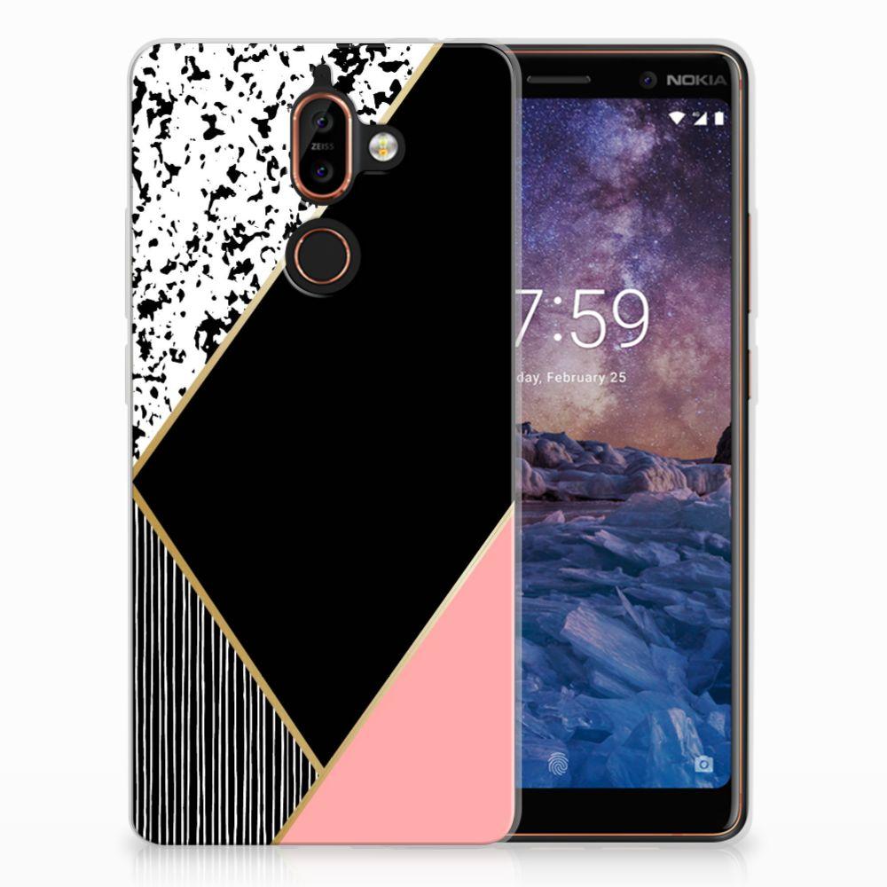 Nokia 7 Plus TPU Hoesje Zwart Roze Vormen
