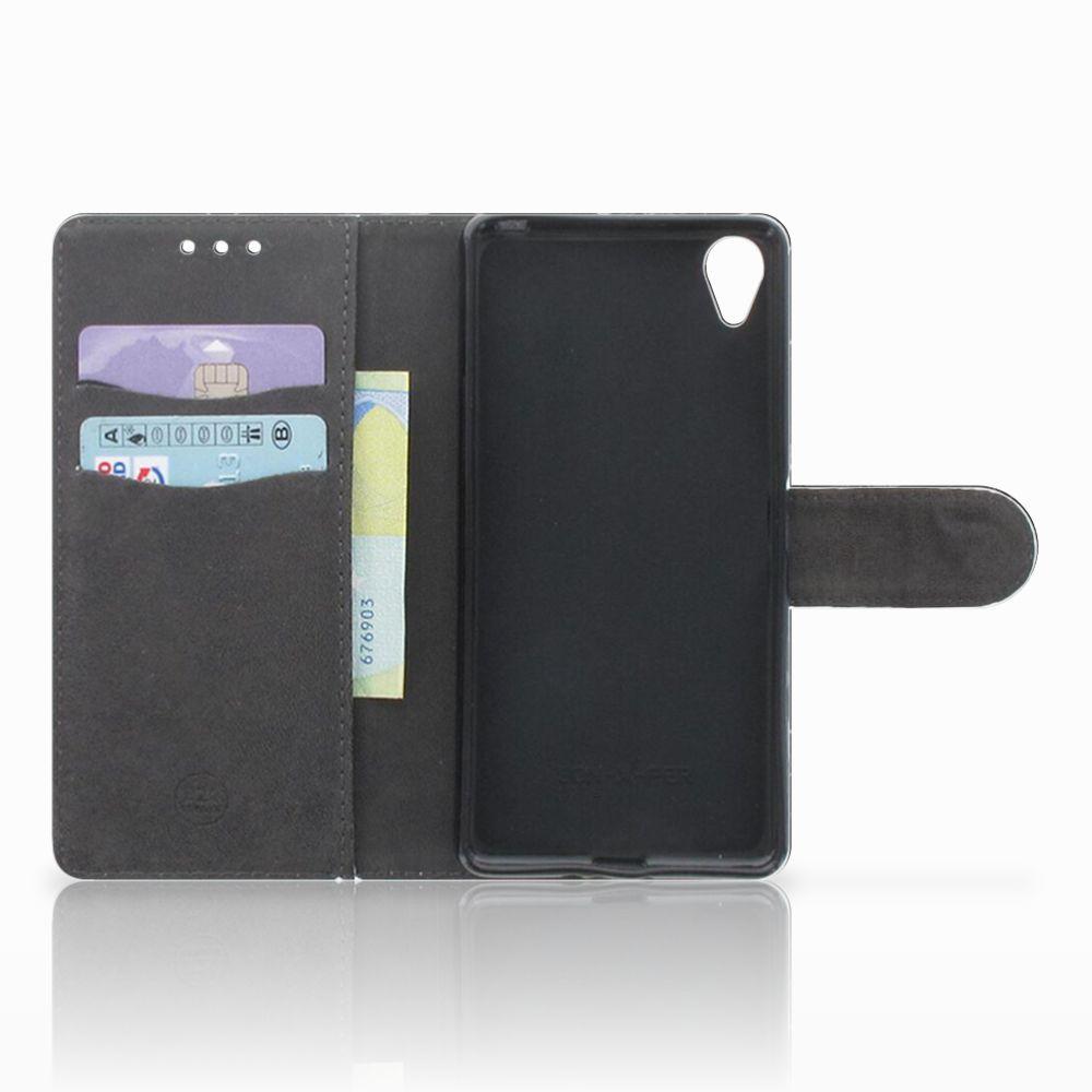 Sony Xperia X Bookcase Marmer Zwart
