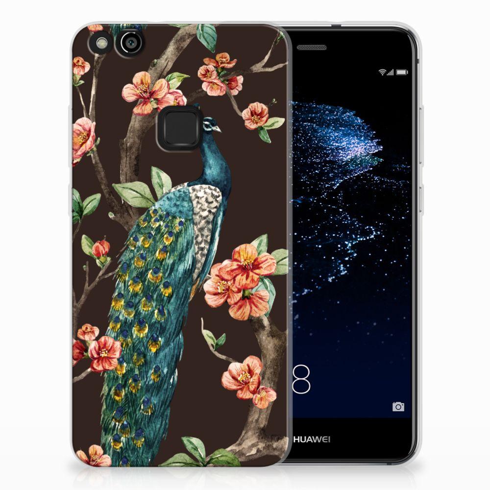 Huawei P10 Lite TPU Hoesje Design Pauw met Bloemen