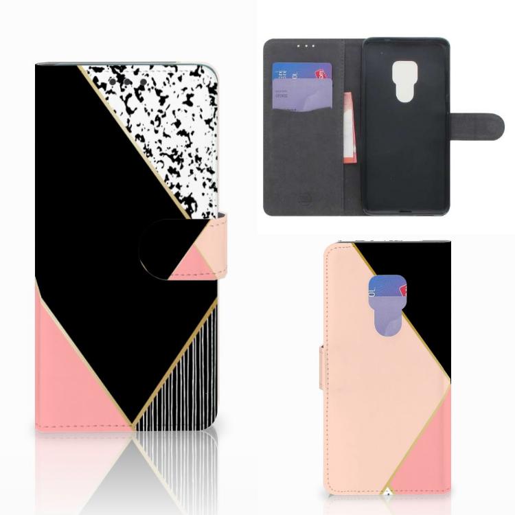 Huawei Mate 20 Bookcase Zwart Roze Vormen
