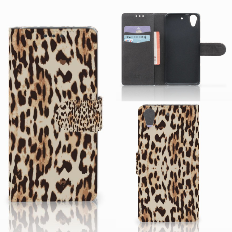 HTC Desire 626 | Desire 626s Telefoonhoesje met Pasjes Leopard