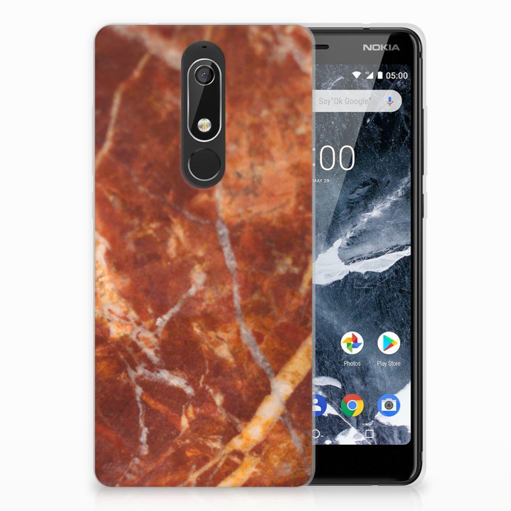 Nokia 5.1 (2018) TPU Hoesje Design Marmer Bruin