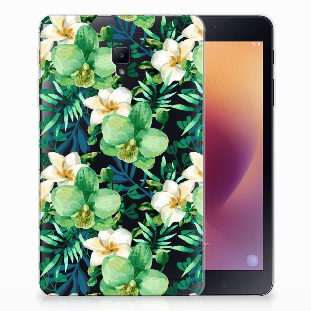 Samsung Galaxy Tab A 8.0 (2017) Uniek Tablethoesje Orchidee Groen