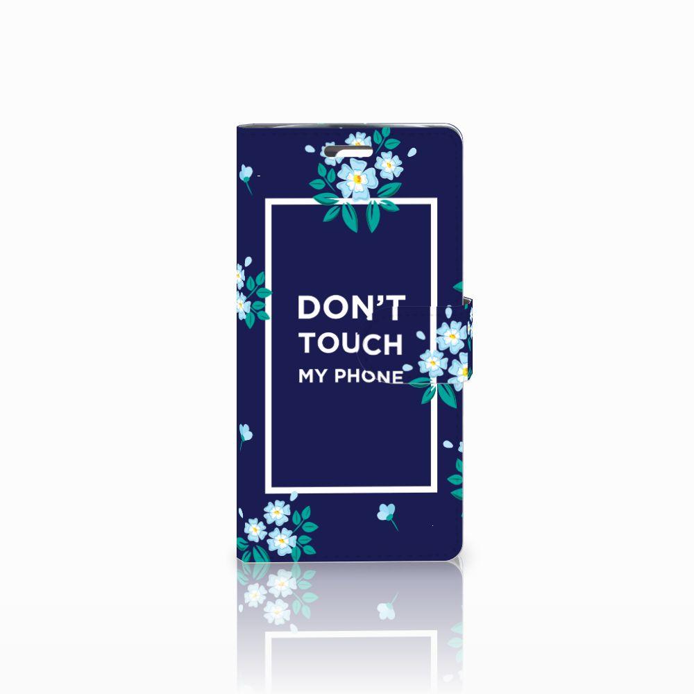 LG K10 2015 Portemonnee hoesje Flowers Blue DTMP