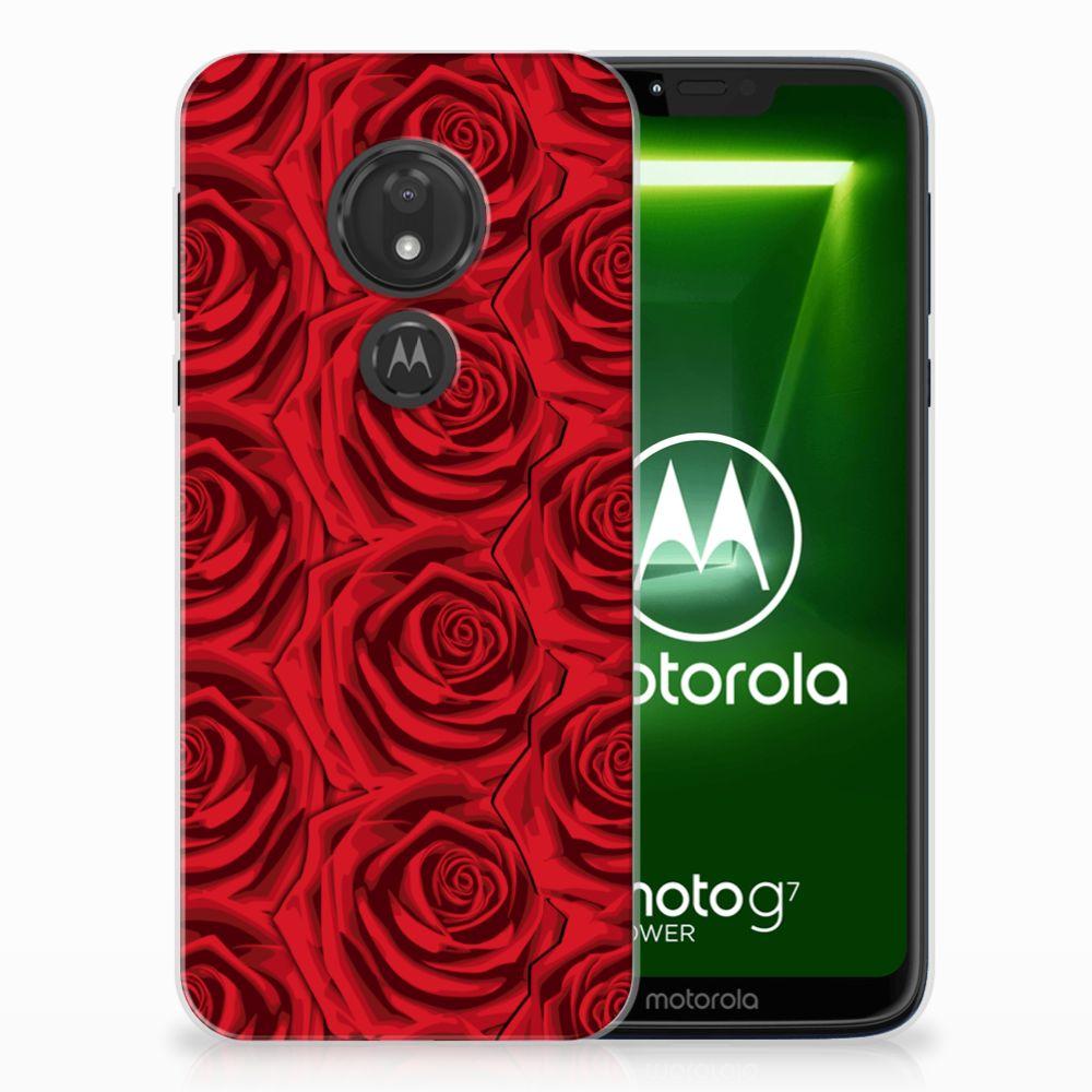 Motorola Moto G7 Power Uniek TPU Hoesje Red Roses