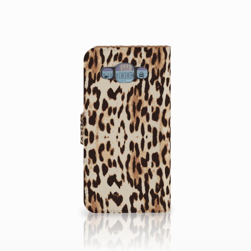 Samsung Galaxy E5 Telefoonhoesje met Pasjes Leopard