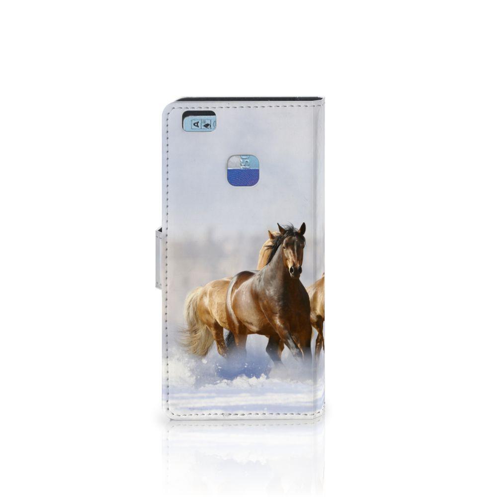 Huawei P9 Lite Telefoonhoesje met Pasjes Paarden