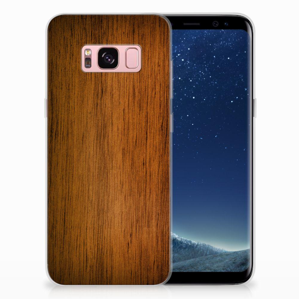 Samsung Galaxy S8 Uniek TPU Hoesje Donker Hout