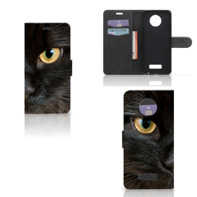 Motorola Moto Z Telefoonhoesje met Pasjes Zwarte Kat