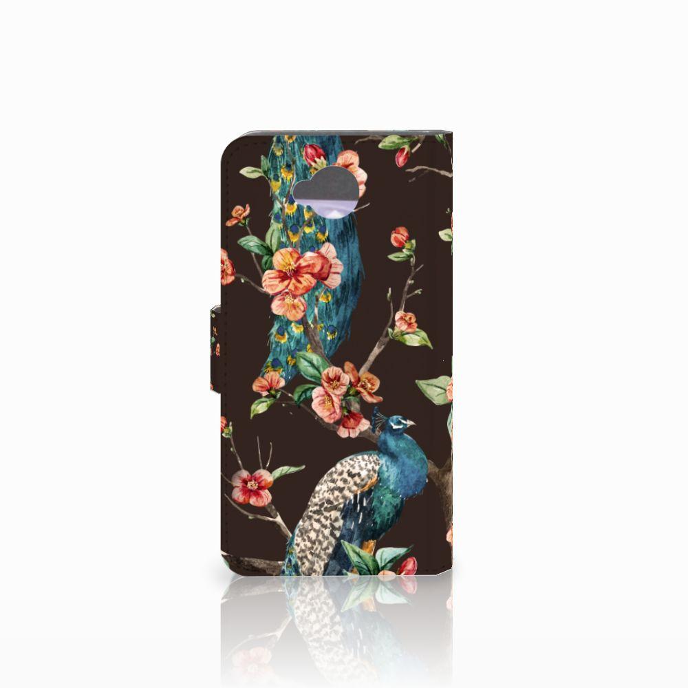 Microsoft Lumia 650 Telefoonhoesje met Pasjes Pauw met Bloemen
