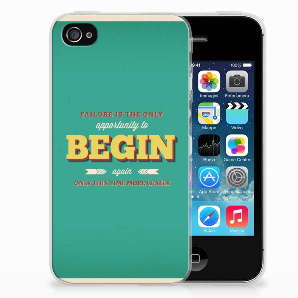 Apple iPhone 4   4s Siliconen hoesje met naam Quote Begin