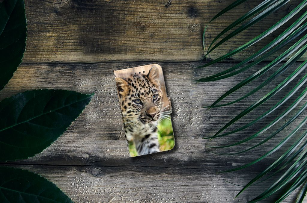 Samsung Galaxy Xcover 3   Xcover 3 VE Telefoonhoesje met Pasjes Baby Luipaard