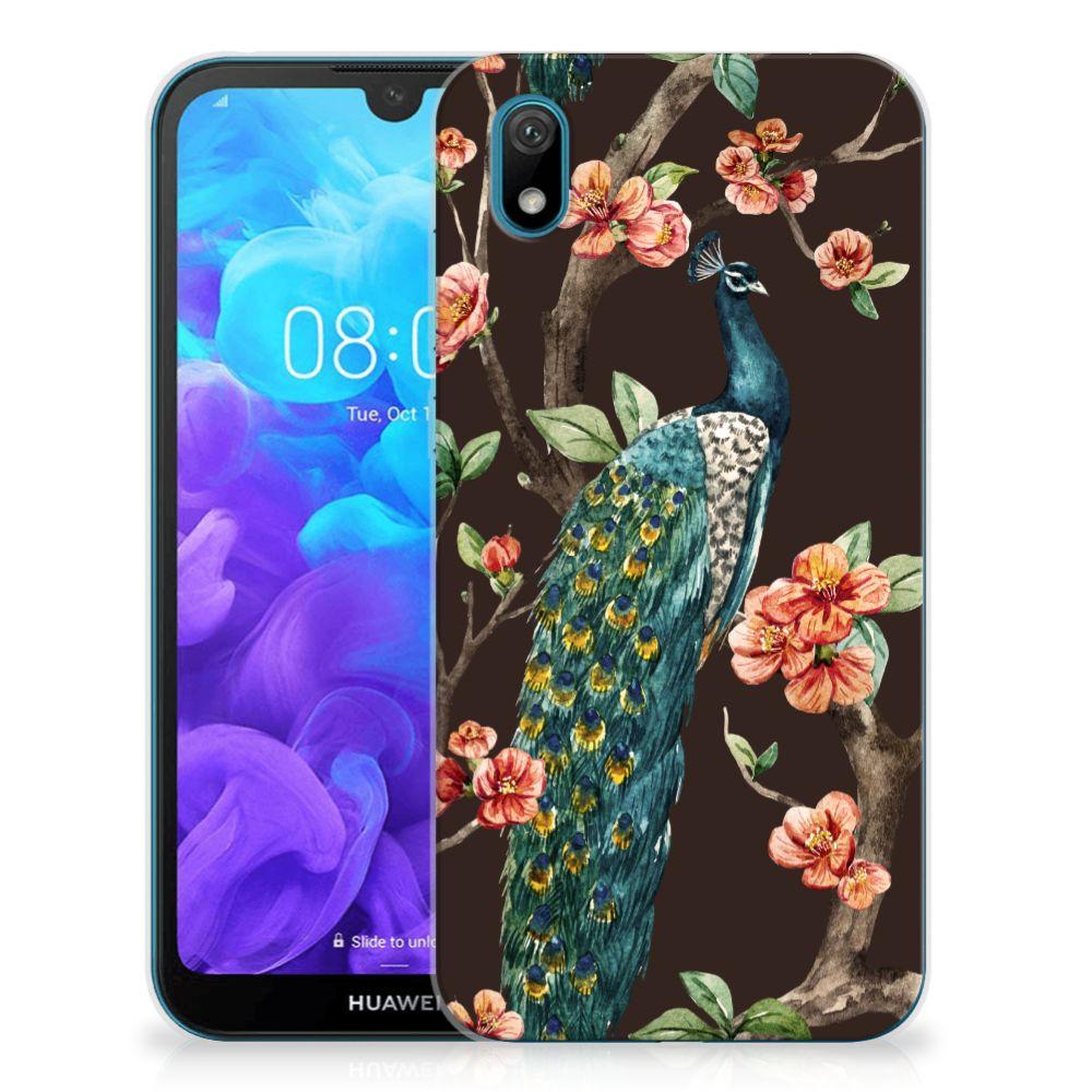 Huawei Y5 (2019) TPU Hoesje Pauw met Bloemen