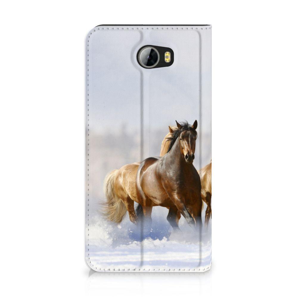Huawei Y5 2 | Y6 Compact Uniek Standcase Hoesje Paarden
