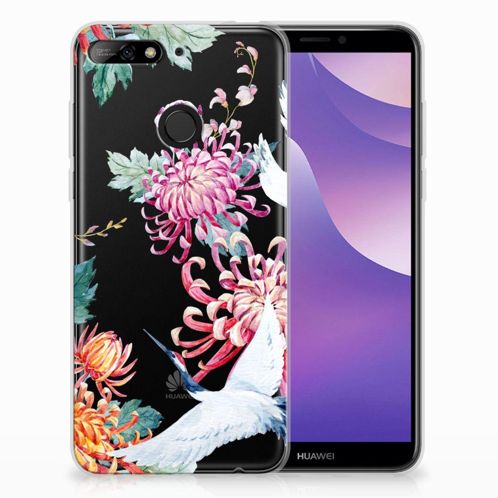 Huawei Y6 (2018) Uniek TPU Hoesje Bird Flowers