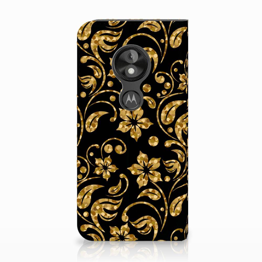 Motorola Moto E5 Play Standcase Hoesje Design Gouden Bloemen