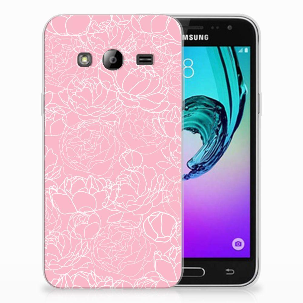 Samsung Galaxy J3 2016 TPU Hoesje Design White Flowers