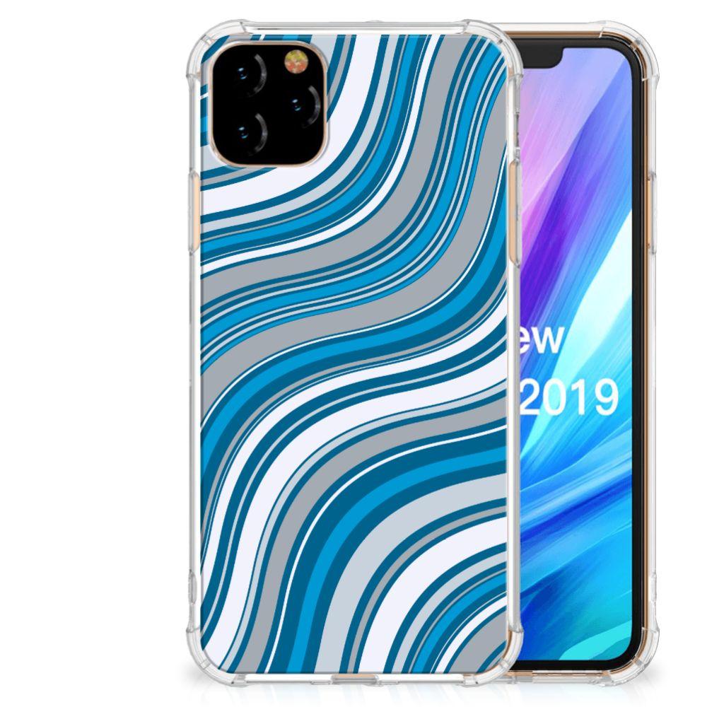 Apple iPhone 11 Pro Max Doorzichtige Silicone Hoesje Waves Blue