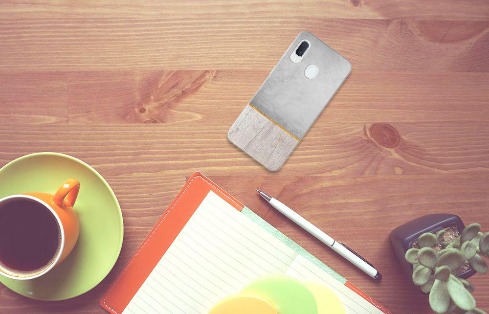 Samsung Galaxy A20e Bumper Hoesje Wood Concrete