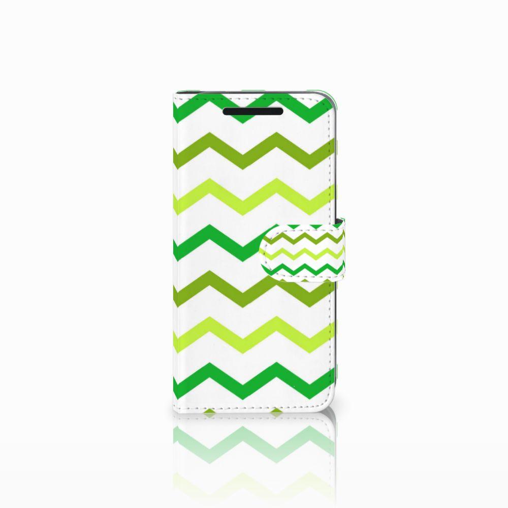 HTC One M9 Uniek Boekhoesje Zigzag Groen