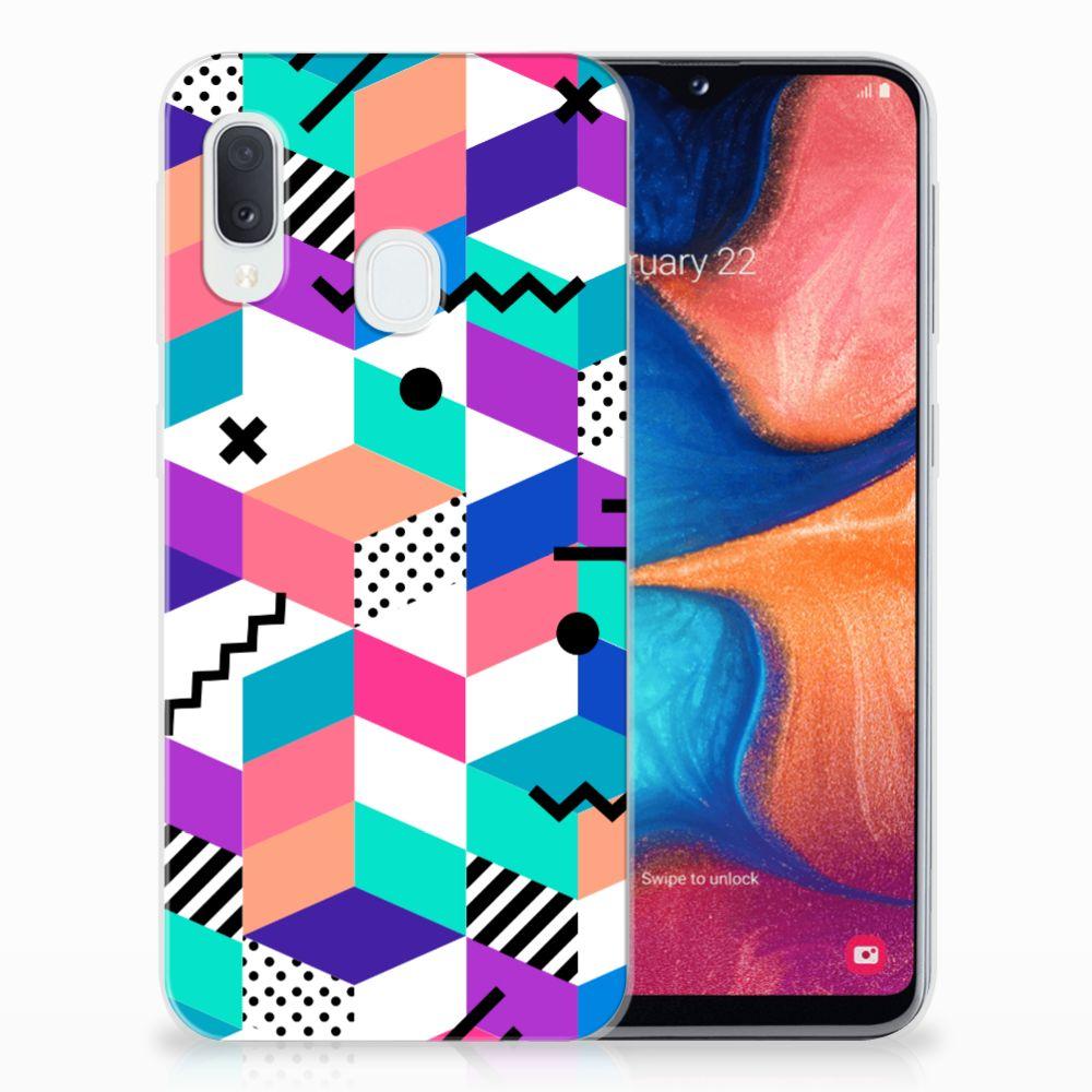 Samsung Galaxy A20e TPU Hoesje Blokken Kleurrijk