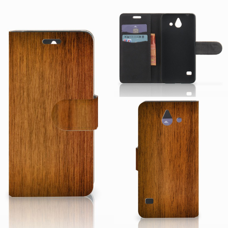 Huawei Ascend Y550 Book Style Case Donker Hout