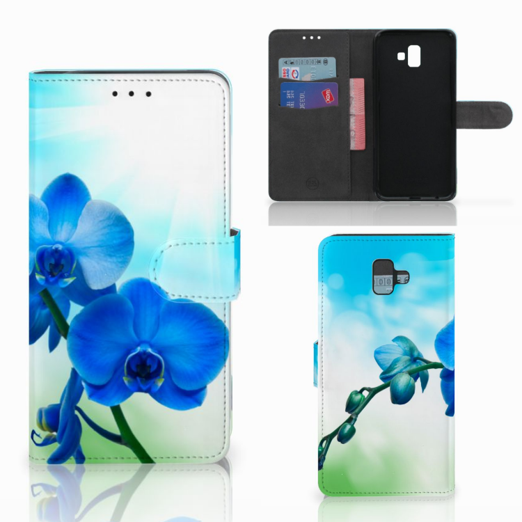 Samsung Galaxy J6 Plus (2018) Hoesje Orchidee Blauw - Cadeau voor je Moeder