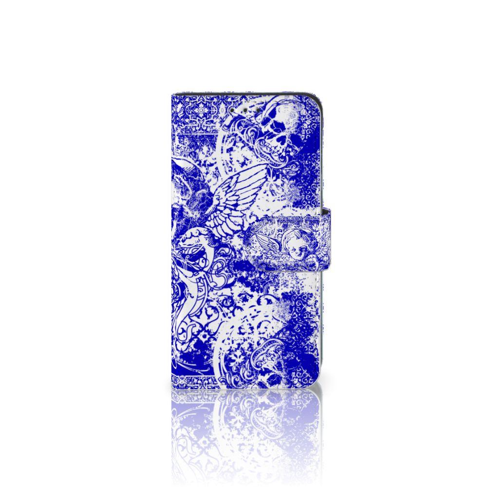 Samsung Galaxy A3 2017 Uniek Boekhoesje Angel Skull Blue