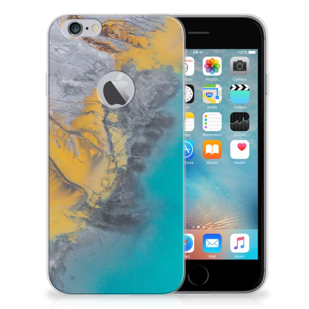 Apple iPhone 6 Plus | 6s Plus TPU Siliconen Hoesje Marble Blue Gold
