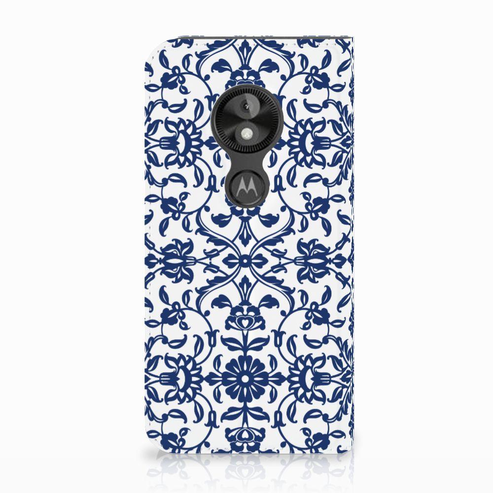 Motorola Moto E5 Play Uniek Standcase Hoesje Flower Blue