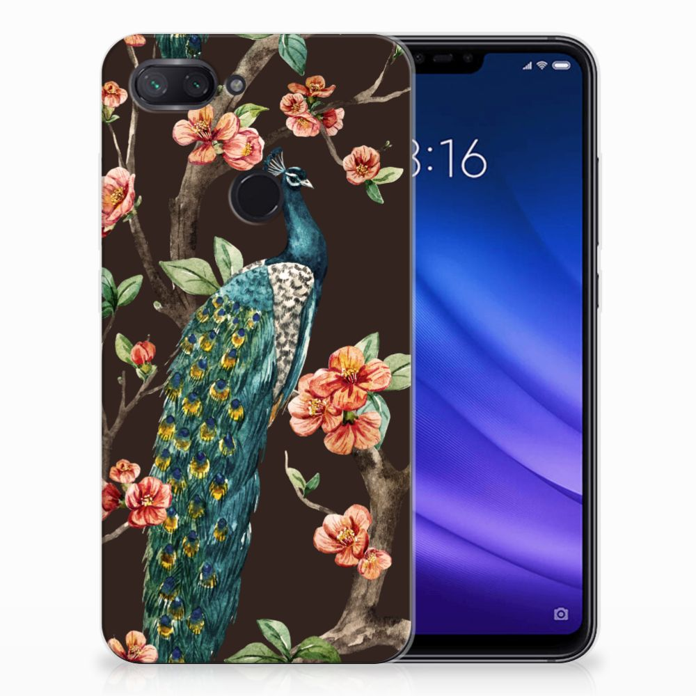 Xiaomi Mi 8 Lite TPU Hoesje Pauw met Bloemen